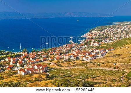 Bol and Zlatni Rat beach on Brac island panoramic aerial view Dalmatia Croatia