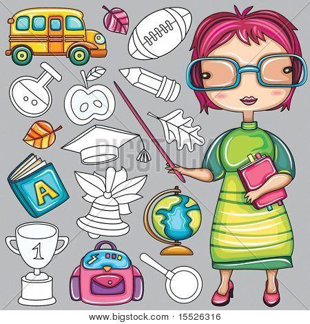 Escuela y maestro de dibujos animados lindo doodle icons