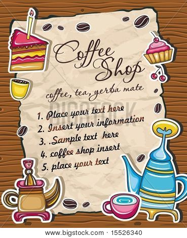 Vintage grunge frame with coffee, tea, cake symbols, isolated on wooden background.