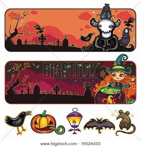 Halloween horizontal cartoon banners 1