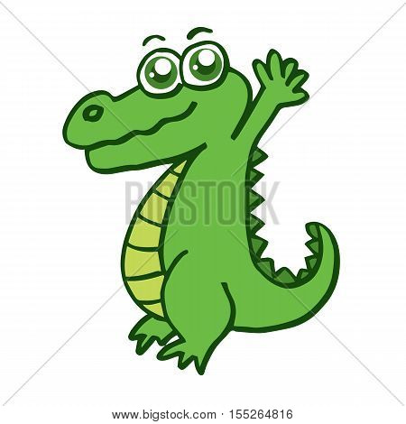 Happy crocodile for kids design collection stock