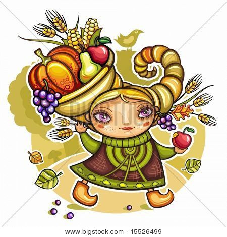 Happy cute girl wearing Cornucopia hat full of colorful fruits and vegetables, celebrating harvest festival in the forest.