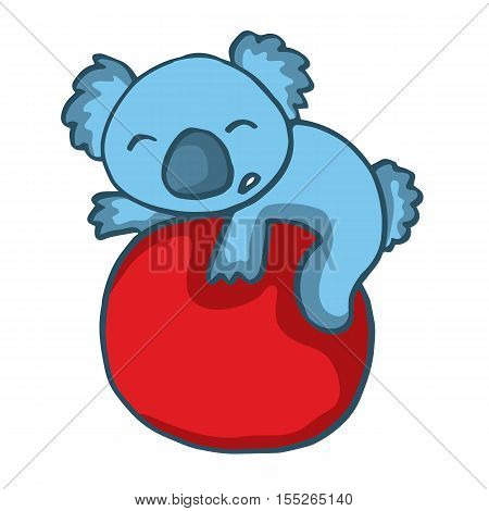 Koala playing big ball cartoon vector illustration