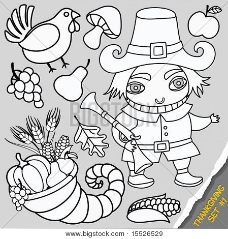 Cartoon Thanksgiving set of design elements. Thanksgiving series 2