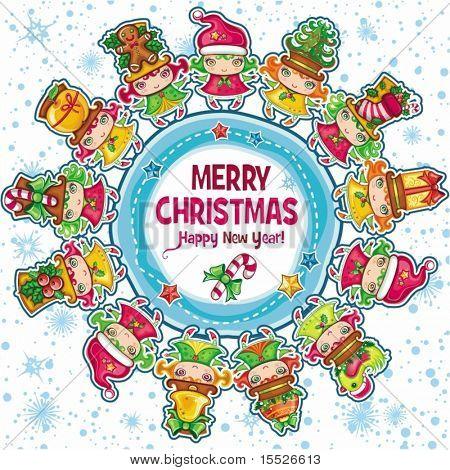 Thema Weihnachten: lustige Mädchen tragen Top Hüte mit Xmas-Objekten, tanzen rund um Weihnachten-pl