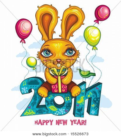 Vector greeting card: Cartoon Bunny, holding colorful gift box, sitting at decorative 2011 letters. Cheerfully flying in the sky. Rabbit is the symbol of New Year, according to the Chinese calendar