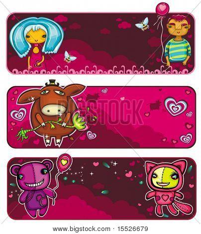 Vector conjunto de colores, dibujos animados de banderas de San Valentín: una pareja en el amor en una fecha, burro lindo con un fl