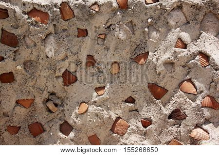 Ancient Gray Concrete Background Stone Texture with clay shards