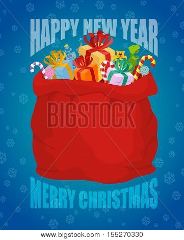Happy New Year. Full sack of gifts. Bag of Santa Claus with presents. Merry Christmas