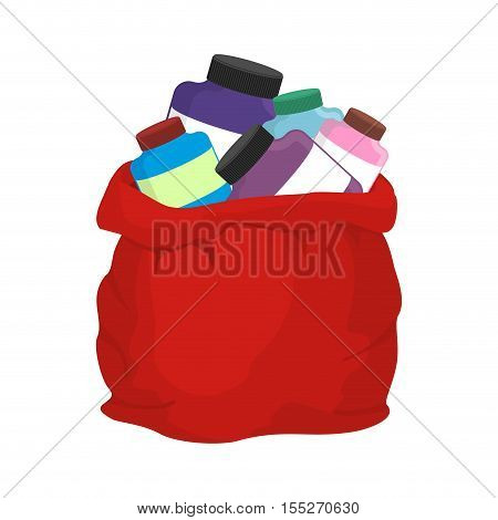 Protein in red sack of Santa Claus. Big bag with packages of sports nutrition. Gift for Christmas bodybuilder