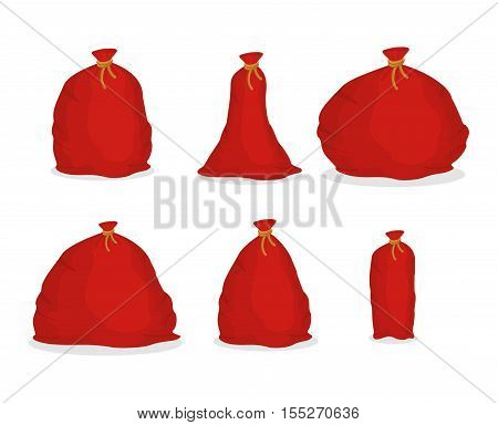 Red sack set Santa Claus. Large holiday bag for gifts
