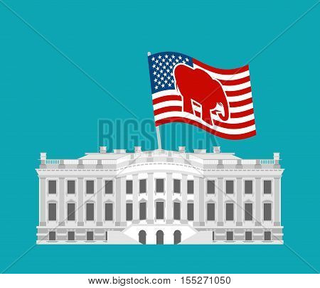 Republicans win White House. Flag red elephant. Political presidential elections in United States.