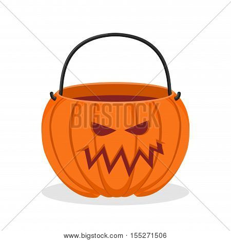 Pumpkin basket empty for Halloween. Horrible vegetable basket of sweets