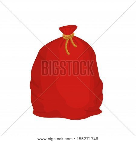 Red sack Santa Claus. Large holiday bag for gifts.