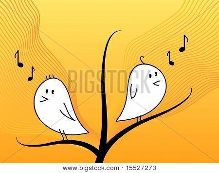Birds singing on a tree