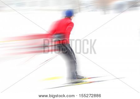 Cross country skier motion blurred image
