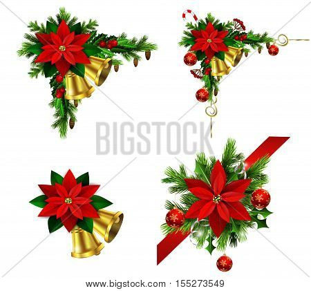 Christmas decoration set with evergreen treess holly and pinecone and poinsettia and ribbon isolated