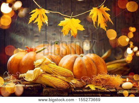 Pumpkin, Squash. Happy Thanksgiving Day Background. Autumn Thanksgiving Pumpkins over wooden background, still-life. Beautiful Holiday Autumn festival concept scene Fall, Harvest.