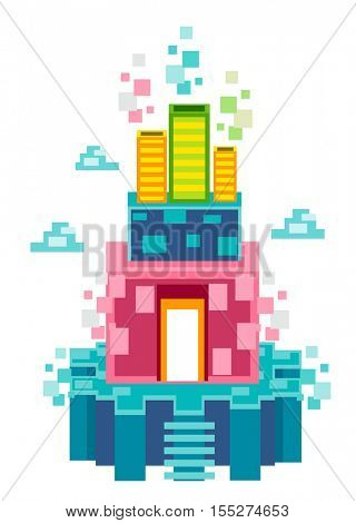 Whimsical Illustration Featuring a Floating Island Decorated with Colorful Squares and Rectangles