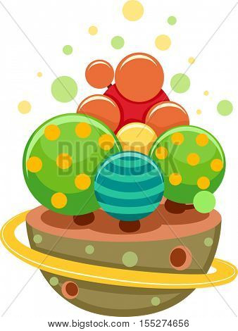 Whimsical Illustration Featuring a Floating Island Decorated with Colorful Circles