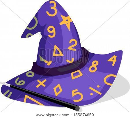 Illustration Featuring a Purple Wizard Hat Decorated with Numbers and Mathematical Equations