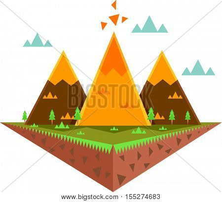 Whimsical Illustration Featuring a Floating Island Decorated with Colorful Triangles