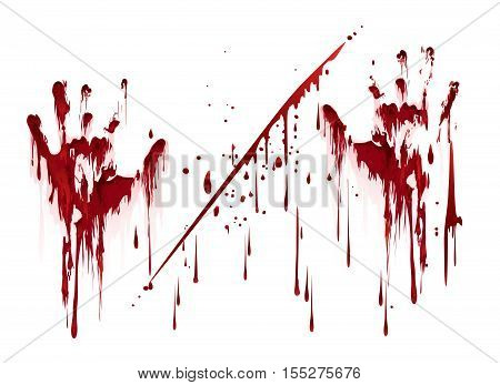 Bloody hand prints with blood drops. Vector illustration