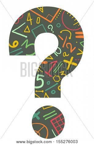 Conceptual Illustration of a Large Question Mark Decorated with Mathematical Equations