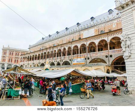 Padua, Italy - September 19, 2014: Scene of Palazzo della Ragione with local market and tourists, in Padua, Veneto, Italy