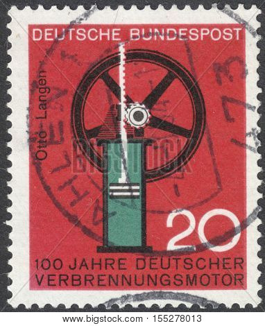MOSCOW RUSSIA - CIRCA OCTOBER 2016: a post stamp printed in GERMANY dedicated to the 100th anniv. of German internal combustion engine the series