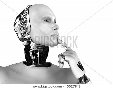 Male Robot Thinking About Something.