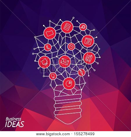 Design of banner with idea light bulb. Presentation of tip and hint of idea brain.