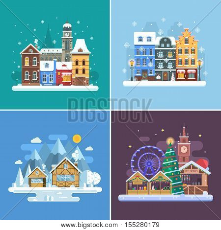 New Year and winter travel backgrounds. Christmas fair, Europe winter town, snow village in alps and winter city street. Landscape set in flat design. New Year holidays and vacation concept backdrops.