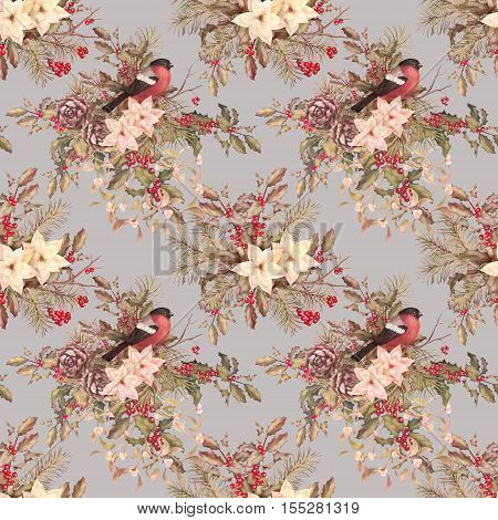 Christmas retro seamless pattern. Bird bullfinch poinsettia flowers with Rowan and Holly branch