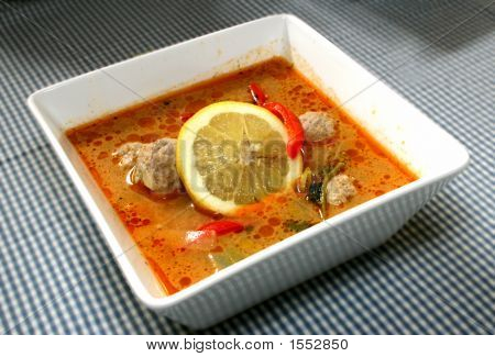 A close-up photo of Asian chicken soup