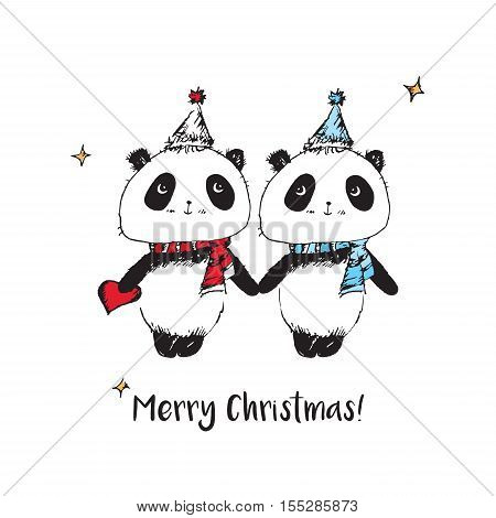 Merry Christmas. Happy New Year 2017. Christmas greeting card with cute pandas. Hand drawn pandas for your design. Vector.