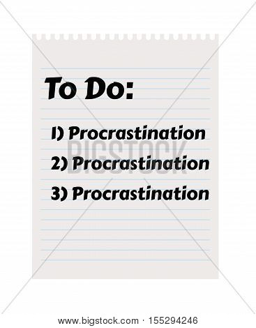 Paper with To Do list and procrastination tasks. Illustration contains text: To Do; Procrastination