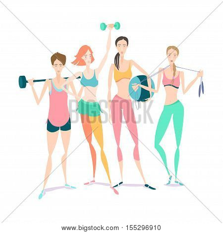 Group Of Beautiful Smiling Young Women Standing Holding Fitness Dumbbel, Barbell, Fitball Wearing Sp