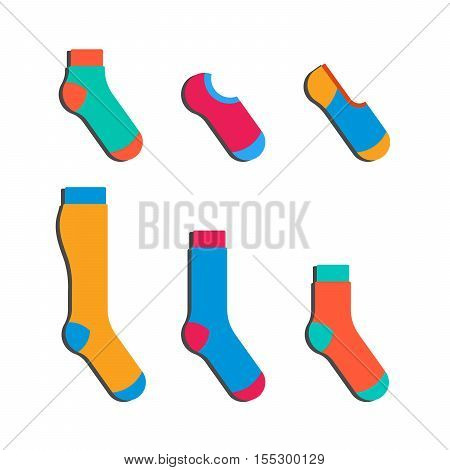 Flat design colorful socks set vector illustration. Textile warm clothes socks pair cute decoration wool winter clothing.