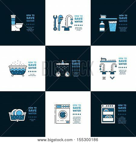 Illustration with tips on saving water consumption by man in a house - Consumption Images Stock Photos Amp Illustrations Bigstock