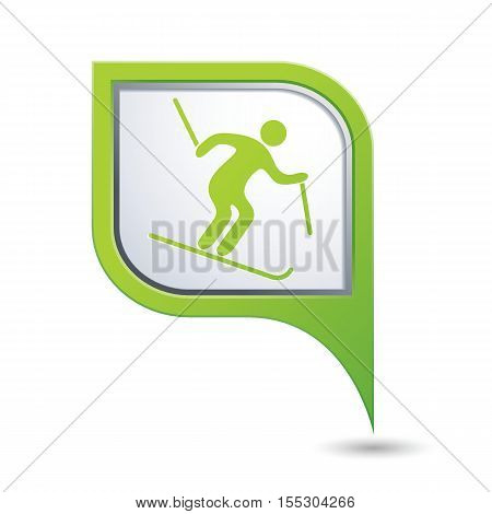 Map pointer with downhill skiing icon. Vector illustration