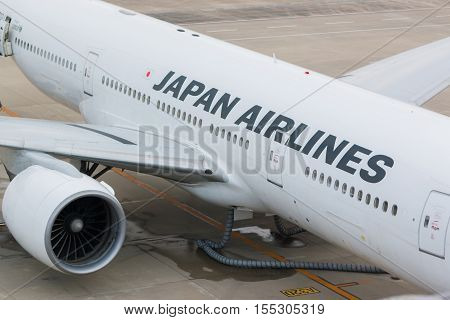 AICHI JAPAN - JUNE 26 2016: Japan Airlines in Chubu Centrair International Airport Japan Japan Airlines is the flag carrier airline of Japan and the second largest in the country behind All Nippon Airways.