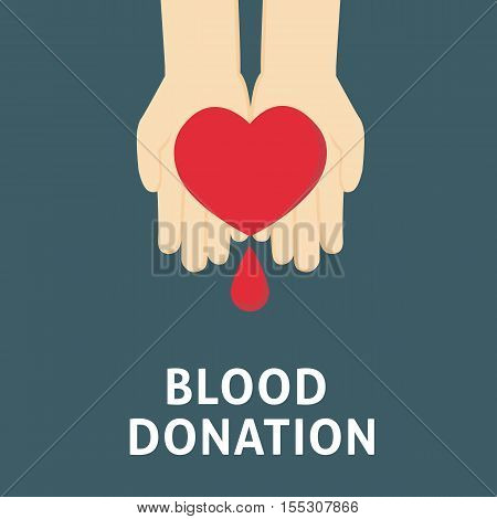 People Hand Giving Love Against Blood Donation