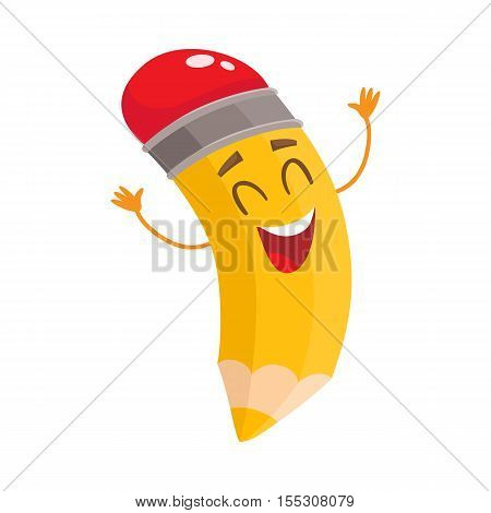 Yellow cartoon pencil with closed eyes and raised up hands celebrating success, vector illustration isolated on white background. Happy and excited humanized funny pencil