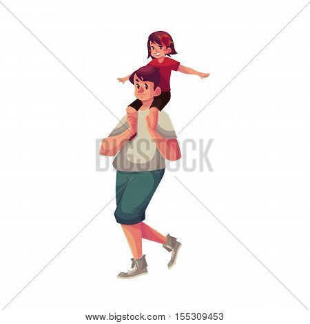 Little girl sitting on his father shoulders and pretending a plane, cartoon vector illustrations isolated on white background. Dad carrying his little daughter on his shoulders, happy family concept