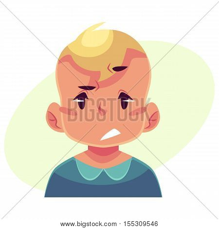 Little boy face, upset, confused facial expression, cartoon vector illustrations isolated on yellow background. Blond male kid emoji face, concerned, confused frustrated.