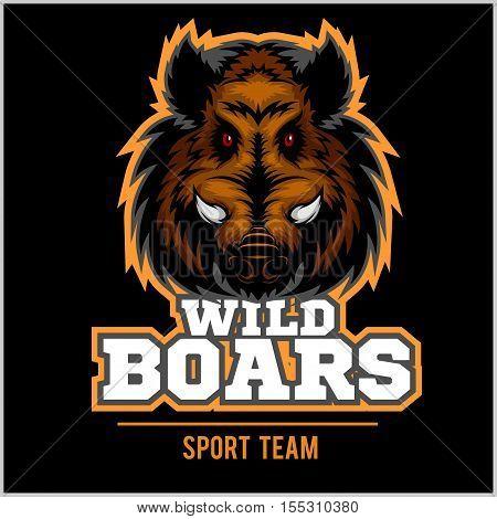 Wild Hog head Mascot on black - sport team