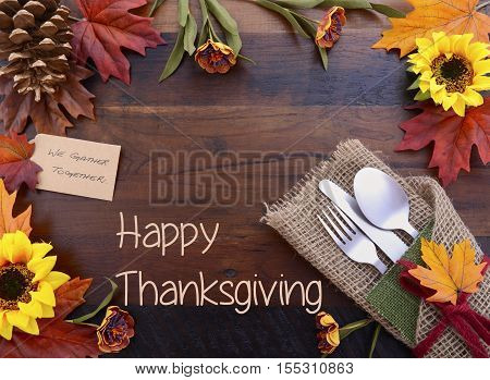 Happy Thanksgiving Background With Decorated Borders And Text.