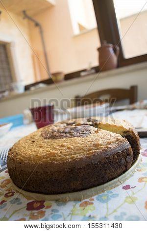 freshly baked chocolate sponge cake on a cake