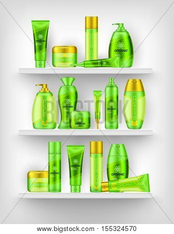 Shelves with cosmetics of different series with flower and honeycombs signs 3d design vector illustration